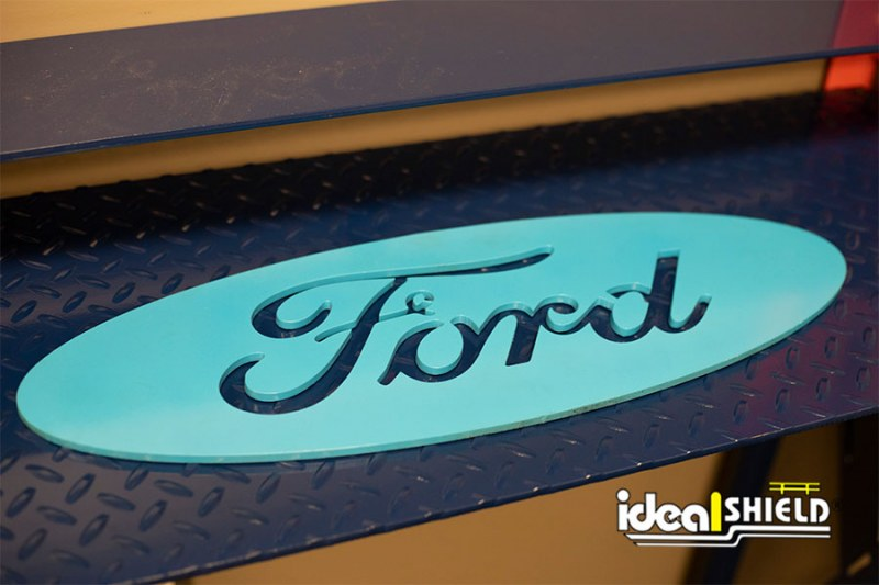 Ideal Shield's Custom Cut Steel Design of Ford's Logo
