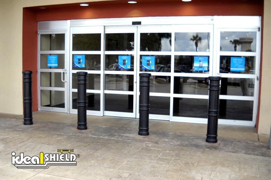 "Ideal Shield's 6"" Metro Decorative Bollard Covers used for storefront entry protection"