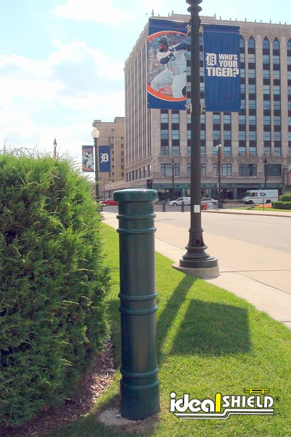 "Ideal Shield's 6"" Metro Decorative Bollard Covers at Comerica Park in Detroit, Michigan"