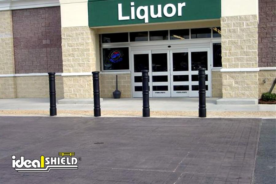 "Ideal Shield's 6"" Metro Decorative Bollard Covers used for storefront protection"