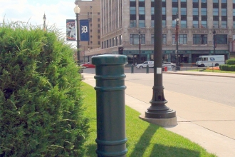 "Ideal Shield's 6"" Metro Decorative Bollard Covers at Comerica Park in Detroit, Michigan"