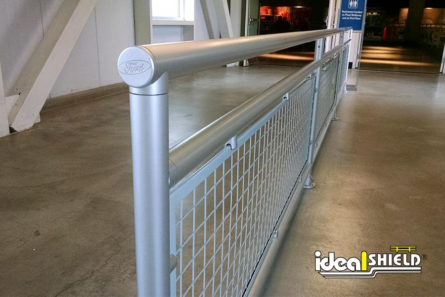Ideal Shield's Aluminum Handrail with Infill Panel and Custom Endcaps