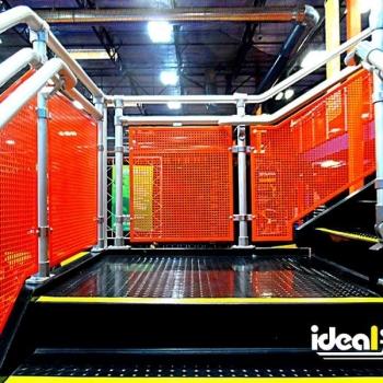 Ideal Shield's Aluminum Handrail with Custom orange infill at Skyzone