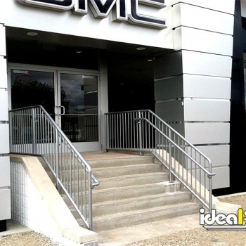 Car Dealership Entry With Aluminum Handrail