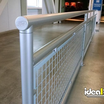 Aluminum Handrail with Infill Panel and Custom Endcap
