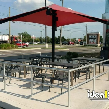 Ideal Shield's Aluminum Handrail around an outdoor patio at Panda Express