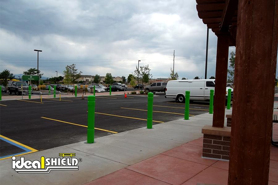 Ideal Shield's 6 Inch Architectural Decorative Bollard Covers used for parking lot protection at Walmart
