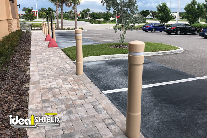 Ideal Shield's  Architectural Bollard Covers in Parking Lot