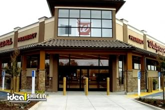 Ideal Shield's 6 Inch Architectural Decorative Bollard Covers used for storefront protection at Walgreen's