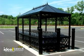 Black 6 Inch Architectural Decorative Bollard Covers Cart Corral