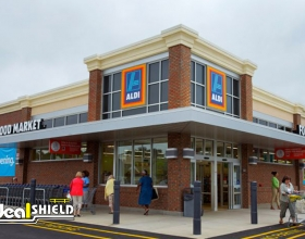 Ideal Shield's 6 inch Architectural Bollard Covers at Aldi in the daylight