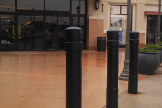 Black 6 Inch Architectural Decorative Bollard Covers Mall Walkway