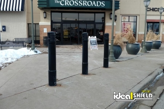 Decorative Bollard Covers Protecting Pedestrian Walkway
