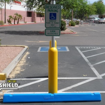 Ideal Shield's yellow handicap accessible Bollard Sign System