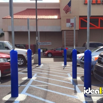 Store Parking Lot Blue Bollard Sign System