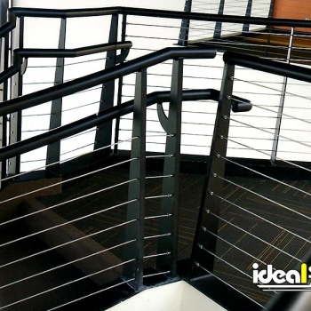 Black Staircase Handrail With Cable Infill