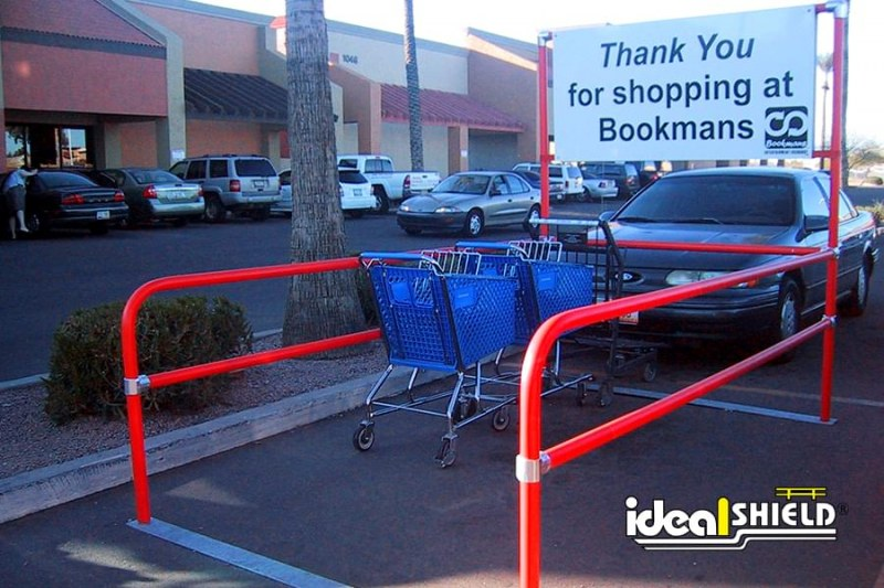 Ideal Shield's Red Parking Lot Shopping Cart Corral
