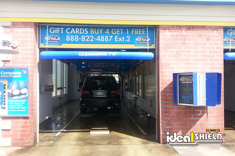 Blue Car Wash Clearance Bar