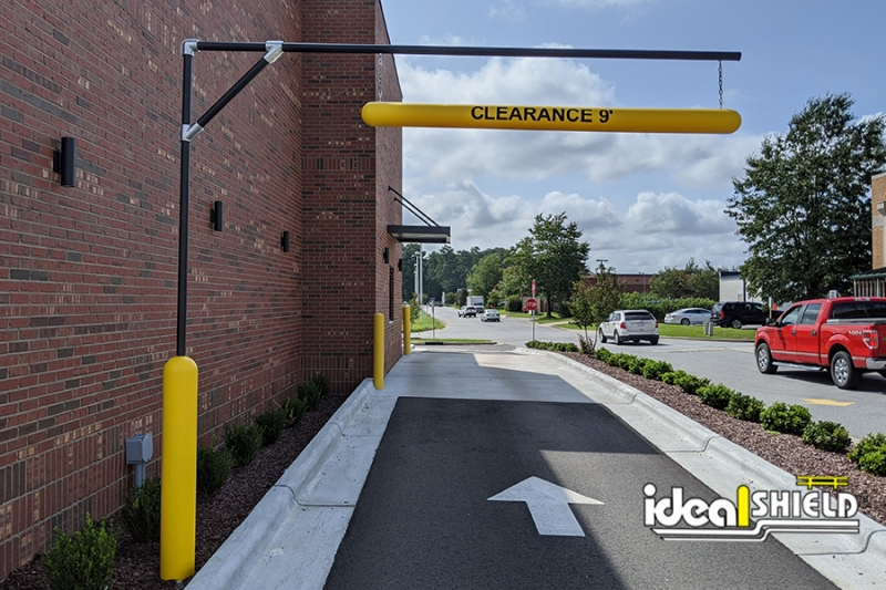 Ideal Shield's Standard Clearance Bar Apparatus at a drive-thru