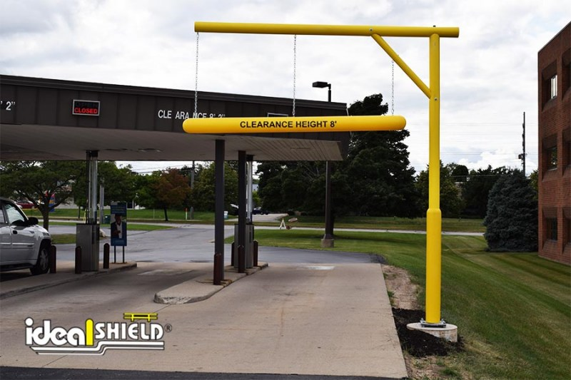 Ideal Shield's Clearance Bar with Custom Designed Apparatus at an ATM drive-thru