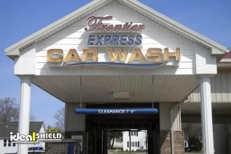 Car Wash Drive Thru With Blue Clearance Bar