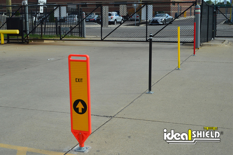 Ideal Shield's Flexible Delineator Paddle with Exit signage