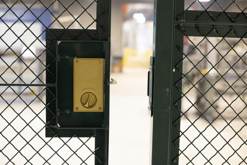 Ideal Shield's Wire Mesh Security Cribbing locking door