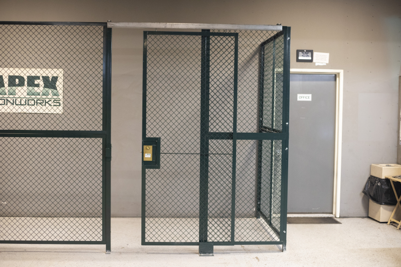 Ideal Shield's Wire Mesh Security Cribbing with single sliding locking door