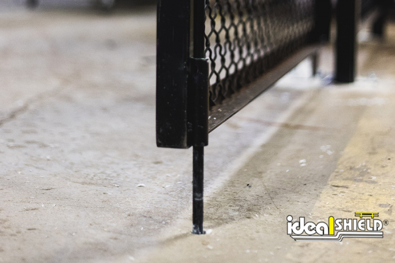 Close up of the sliding door's stability pin on the Wire Mesh Security Cribbing