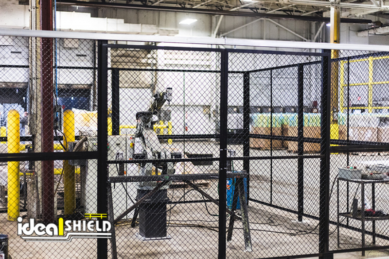 Ideal Shield's Wire Mesh Security Cribbing enclosure with sliding doors