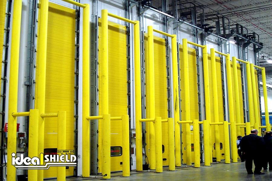Goal Post Cold Storage Door Protection with Guardrail Guides