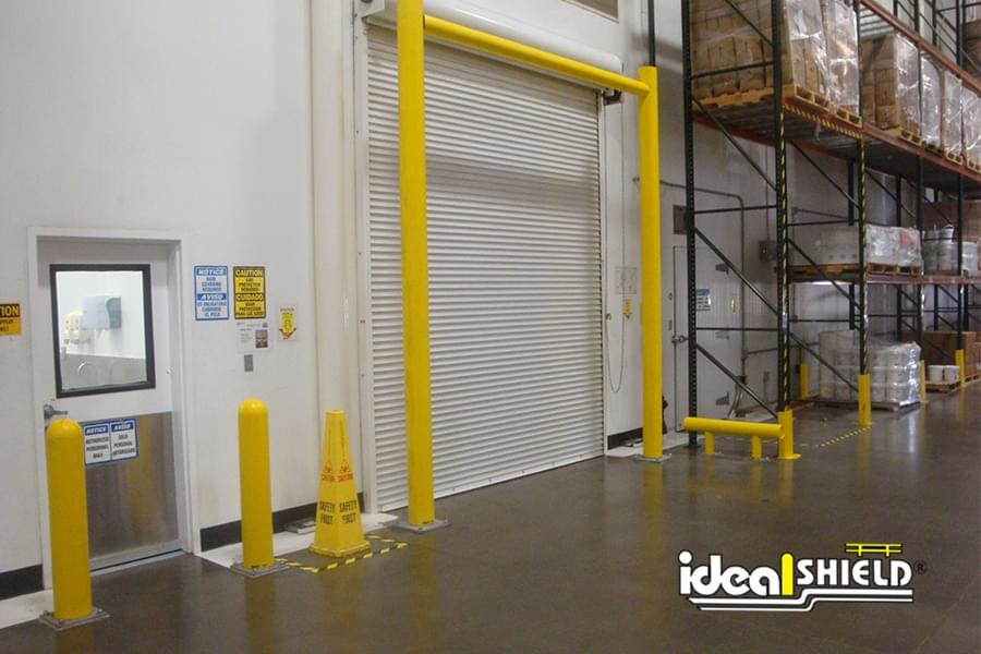 Goal Post Loading Dock Door Protection with Plated Bollards