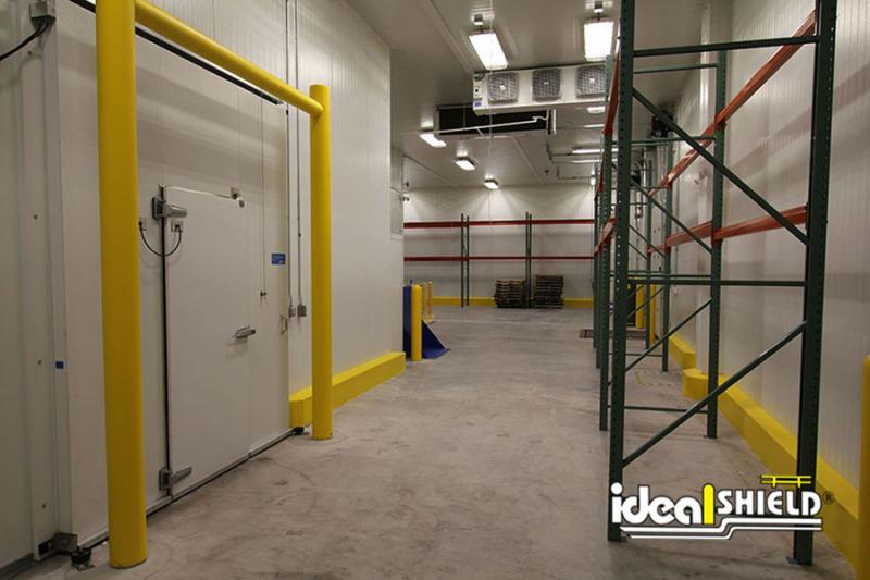 Ideal Shield's Goal Post Guardrail guarding freezer door entrance