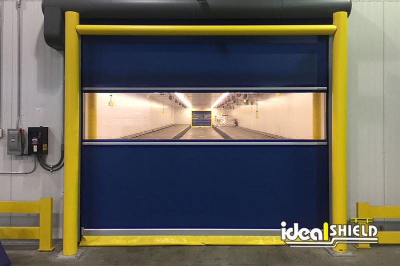 Ideal Shield's Goal Post Guardrail  guarding cold storage overhead door