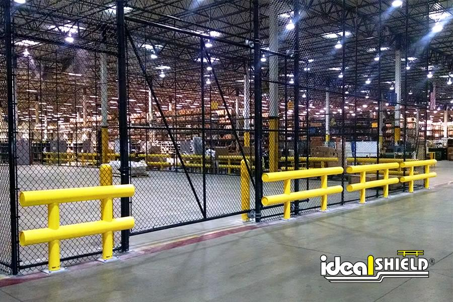 Two Line Guardrail Protecting Warehouse Facility Cribbing