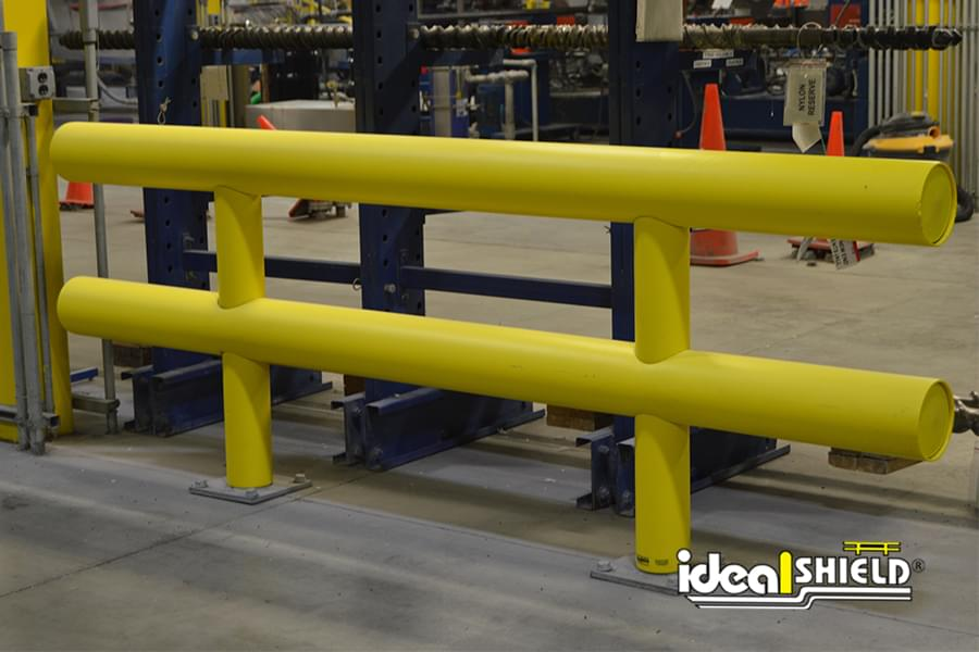 Ideal Shield's Two-Line Industrial Guardrail used for warehouse protection