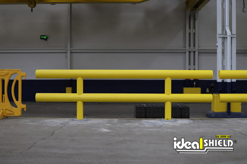 Ideal Shield's Two-Line Heavy Duty Industrial Guardrail used for edge protection in a warehouse