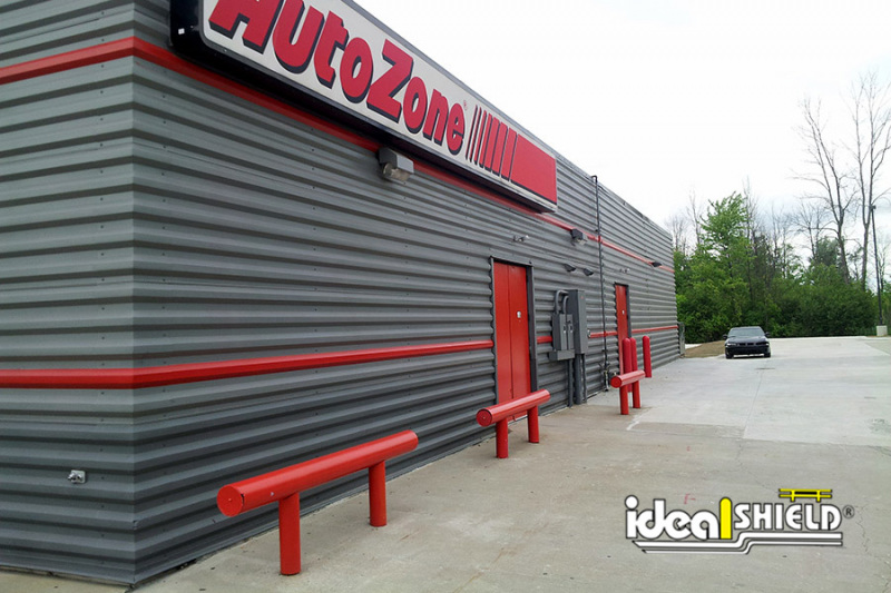 Ideal Shield's Red Heavy Duty Industrial Guardrail Protecting the exterior of an AutoZone