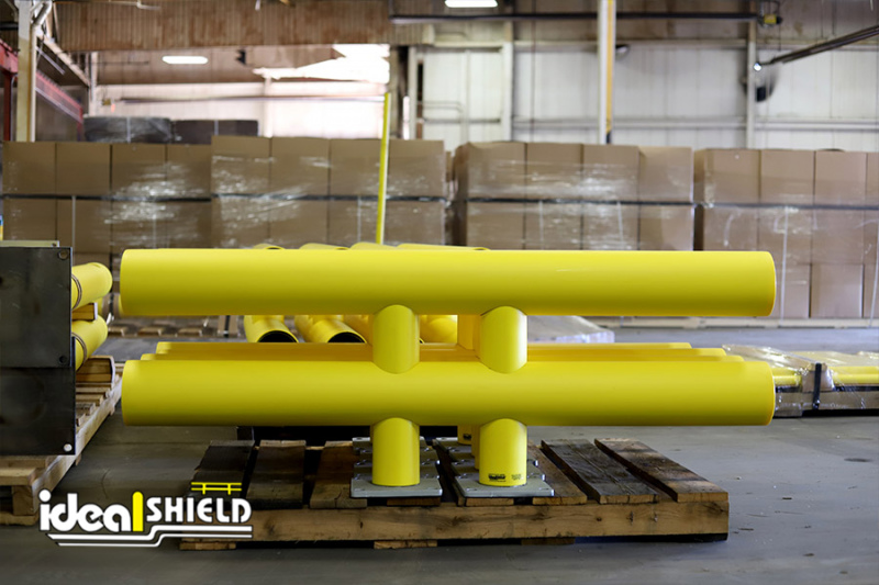 Ideal Shield's custom designed Two-Line Heavy-Duty Warehouse Guardrail