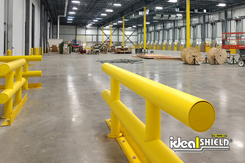 Ideal Shield's Two-Line Heavy Duty Guardrail with Base Flanges and Angle Iron Floor Shields