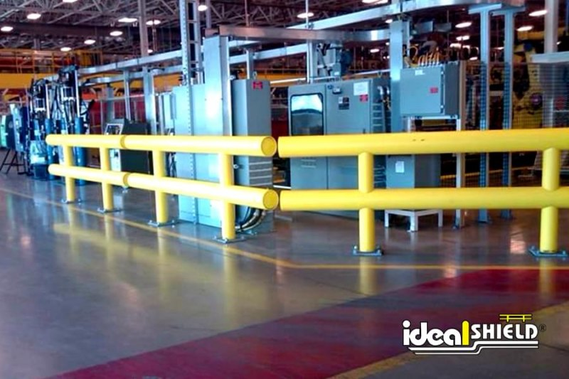Ideal Shield's Two Line In-Plant Guardrail Protecting Warehouse Equipment