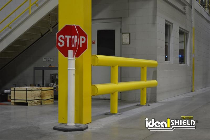 Ideal Shield's Warehouse Guardrail Protecting Forklift Lane