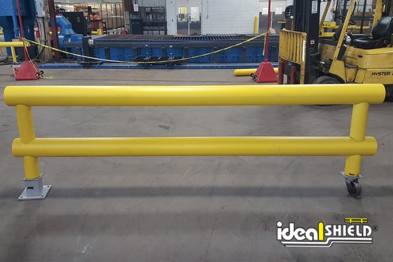 Ideal Shield's Heavy-Duty Two-Line Industrial Guardrail with custom wheel and surface mounted swivel base plate