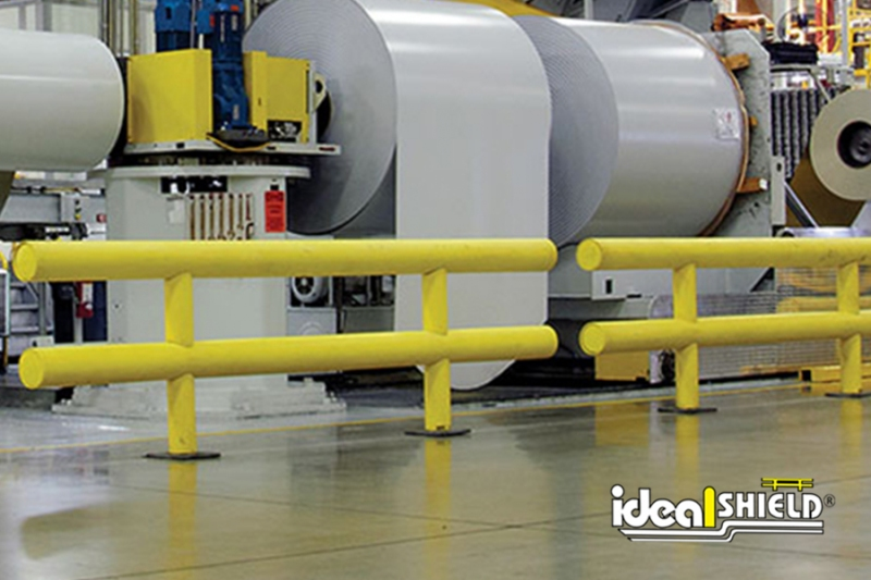 Ideal Shield's Two-Line Heavy Duty Guardrail guarding critical machinery