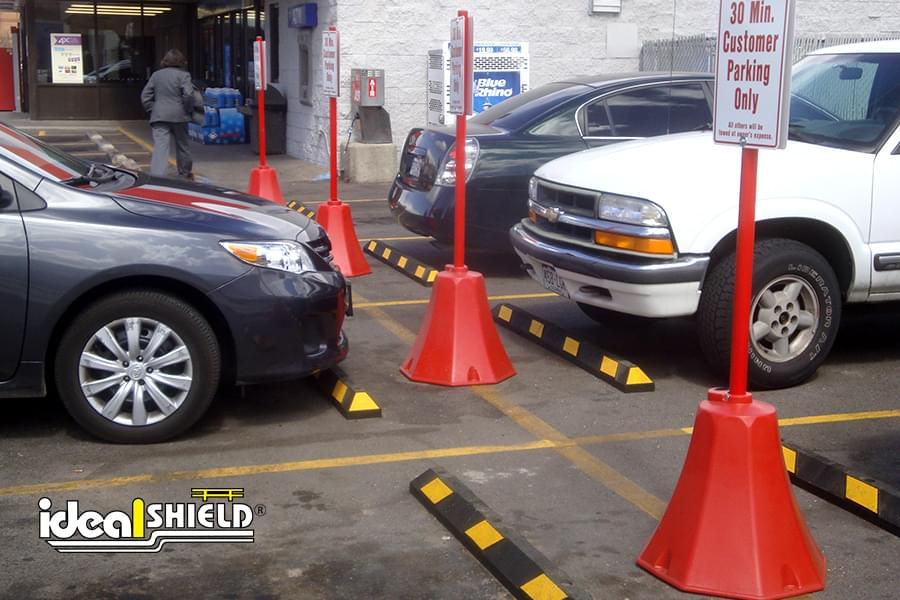 Customer Parking Only Signs Held By Our Octagon Sign Base