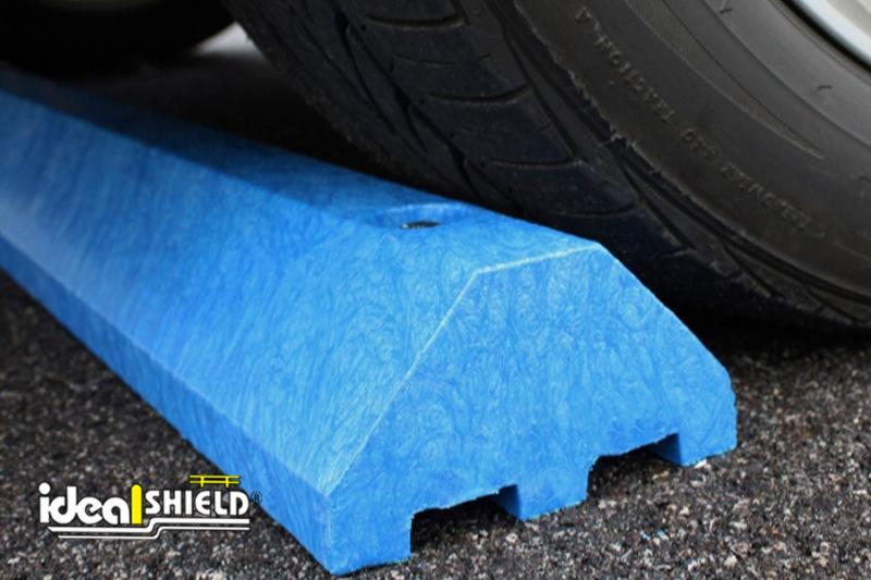 Standard Ultra Parking Block in Blue under a tire