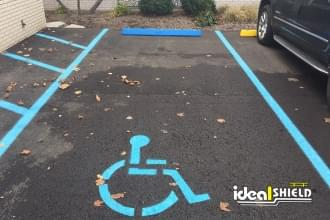 Plastic Parking Block Used To Show Handicapped Parking Area