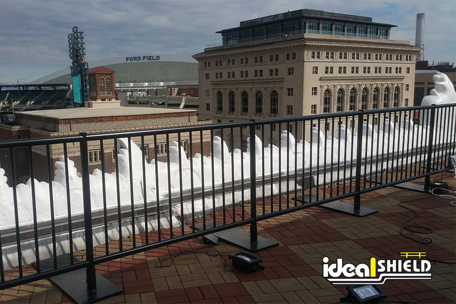 Ideal Shield's Black Rooftop Edge Fall Protection Railing at the  Detroit Opera House