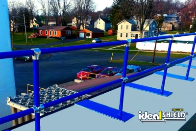 Ideal Shield's Roof Edge Fall Protection Railing with base plates powder coated blue