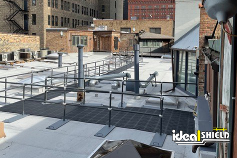 Ideal Shield's  Black Roof Fall Protection Railing